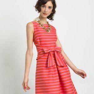 Kate Spade Jillian Pink Orange Strip Bow Dress XS